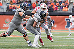 Wisconsin Badgers defensive lineman Alec James (57) makes a tackle during an NCAA College Big Ten Conference football game against the Illinois Fighting Illini Saturday, October 28, 2017, in Champaign, Illinois. The Badgers won 24-10. (Photo by David Stluka)