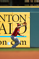 Boston Red Sox center fielder Ryan LaMarre (65) catches a fly ball during a Spring Training game against the Pittsburgh Pirates on March 9, 2016 at McKechnie Field in Bradenton, Florida.  Boston defeated Pittsburgh 6-2.  (Mike Janes/Four Seam Images)
