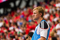 New York Red Bulls goalkeeper Ryan Meara (18). The New York Red Bulls defeated the Houston Dynamo 2-0 during a Major League Soccer (MLS) match at Red Bull Arena in Harrison, NJ, on June 30, 2013.