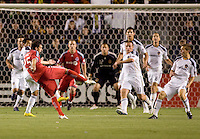 Toronto FC midfielder Martin Saric (25) takes a shot on goal. The LA Galaxy and Toronto FC played to a 0-0 draw at Home Depot Center stadium in Carson, California on Saturday May 15, 2010.  .