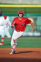 Clearwater Threshers center fielder Mark Laird (6) running the bases during a game against the Palm Beach Cardinals on April 14, 2017 at Spectrum Field in Clearwater, Florida.  Clearwater defeated Palm Beach 6-2.  (Mike Janes/Four Seam Images)