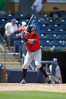 Mark Mathias (23) of the Columbus Clippers at bat against the Durham Bulls at Durham Bulls Athletic Park on June 1, 2019 in Durham, North Carolina. The Bulls defeated the Clippers 11-5 in game one of a doubleheader. (Brian Westerholt/Four Seam Images)