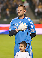 CARSON, CA - November 3, 2011: LA Galaxy goalie Josh Saunders (12) before the match between LA Galaxy and NY Red Bulls at the Home Depot Center in Carson, California. Final score LA Galaxy 2, NY Red Bulls 1.