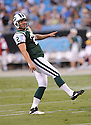 NICK FOLK, of the New York Jets in action during the Jets game against the Carolina Panthers  at Bank of America Stadium in Charlotte, N.C.  on August 21, 2010.  The Jets beat the Panthters 9-3 in the second week of preseason games...