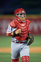 Louisville Bats catcher Raffy Lopez (9) during a game against the Buffalo Bisons on June 20, 2016 at Coca-Cola Field in Buffalo, New York.  Louisville defeated Buffalo 4-1.  (Mike Janes/Four Seam Images)