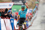 Miguel Angel Lopez Moreno (COL) Astana Pro Team crosses the finish line to win solo Stage 11 of the 2017 La Vuelta, running 187.5km from Lorca to Observatorio Astron&oacute;mico de Calar Alto, Spain. 30th August 2017.<br /> Picture: Unipublic/&copy;photogomezsport | Cyclefile<br /> <br /> <br /> All photos usage must carry mandatory copyright credit (&copy; Cyclefile | Unipublic/&copy;photogomezsport)