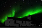 ST. PAUL'S ANGLICAN HISORTICAL CHURCH AND THE NORTHERN LIGHTS,  'Aurora borealis' CHURCHILL, MANITOBA, CANADA