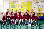 STEPPING ONTO THE EDUCATION LADDER:  Attending their first day in junior infants at Kilgarvan NS are front row l-r Cara O'Sullivan, Amy Kelleher, Niamh Healy, Roisin Foley, Ava Cemin, Emilie Hanley, Ella Riordan and Lilly Dineen with back row, Micheal Kelleher, Alexander Healy, Ryan Evans, John Quill, Patrick Delaney and Mikey O'Sullivan.