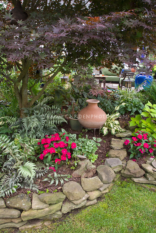 Pretty Raised Bed Shaded Garden, Japanese Painted Ferns, Impatiens, Coleus,  Decorative Pots