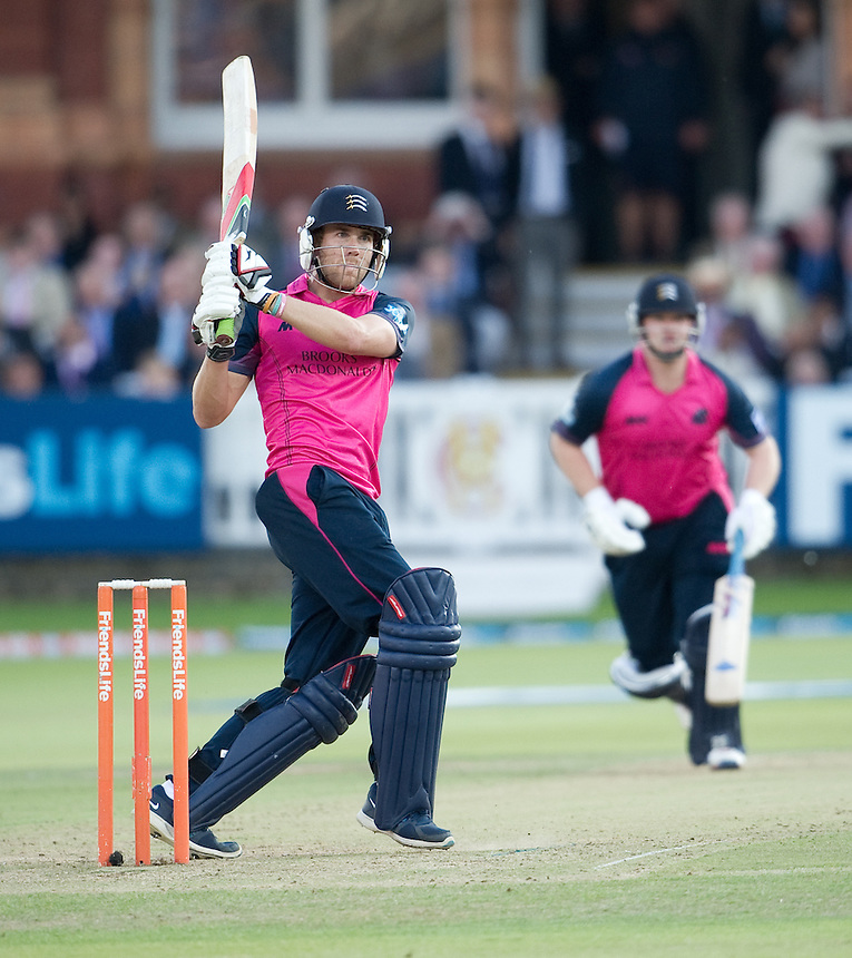 Middlesex Panthers' Dawid Malan - man of the match for his 85 in the victory over Essex Eagles<br /> <br />  (Photo by Ashley Western/CameraSport) <br /> County Cricket - Friends Life t20 2013 - Middlesex v Essex - Thursday 04th July 2013 - Lord's, London <br /> <br />  &copy; CameraSport - 43 Linden Ave. Countesthorpe. Leicester. England. LE8 5PG - Tel: +44 (0) 116 277 4147 - admin@camerasport.com - www.camerasport.com