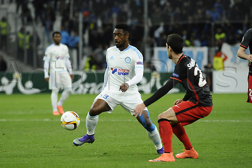 18.02.2016. Marseille, France. UEFA Europa league football. Marseille versus Athletic Bilbao.  Nkoulou (OM) controls the ball away from Sabin Merino
