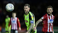 Bolton Wanderers' Daryl Murphy competing with Lincoln City's Neal Eardley (right) <br /> <br /> Photographer Andrew Kearns/CameraSport<br /> <br /> The EFL Sky Bet League One - Lincoln City v Bolton Wanderers - Tuesday 14th January 2020  - LNER Stadium - Lincoln<br /> <br /> World Copyright © 2020 CameraSport. All rights reserved. 43 Linden Ave. Countesthorpe. Leicester. England. LE8 5PG - Tel: +44 (0) 116 277 4147 - admin@camerasport.com - www.camerasport.com