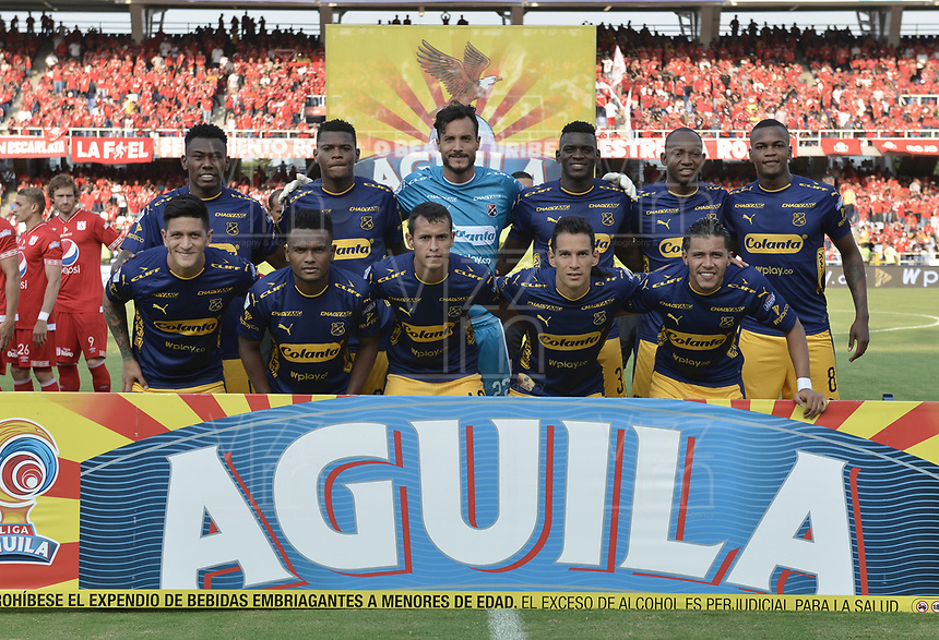 CALI - COLOMBIA-16-02-2019: Jugadores del Medellin posan para una foto previo al partido por la fecha 5 de la Liga Águila I 2019 entre América de Cali y Deportivo Independiente Medellín jugado en el estadio Pascual Guerrero de la ciudad de Cali. / Players of Medellin pose to a photo prior match for the date 5 as part of Aguila League I 2019 between America Cali and Deportivo Independiente Medellin played at Pascual Guerrero stadium in Cali. Photo: VizzorImage / Gabriel Aponte / Staff