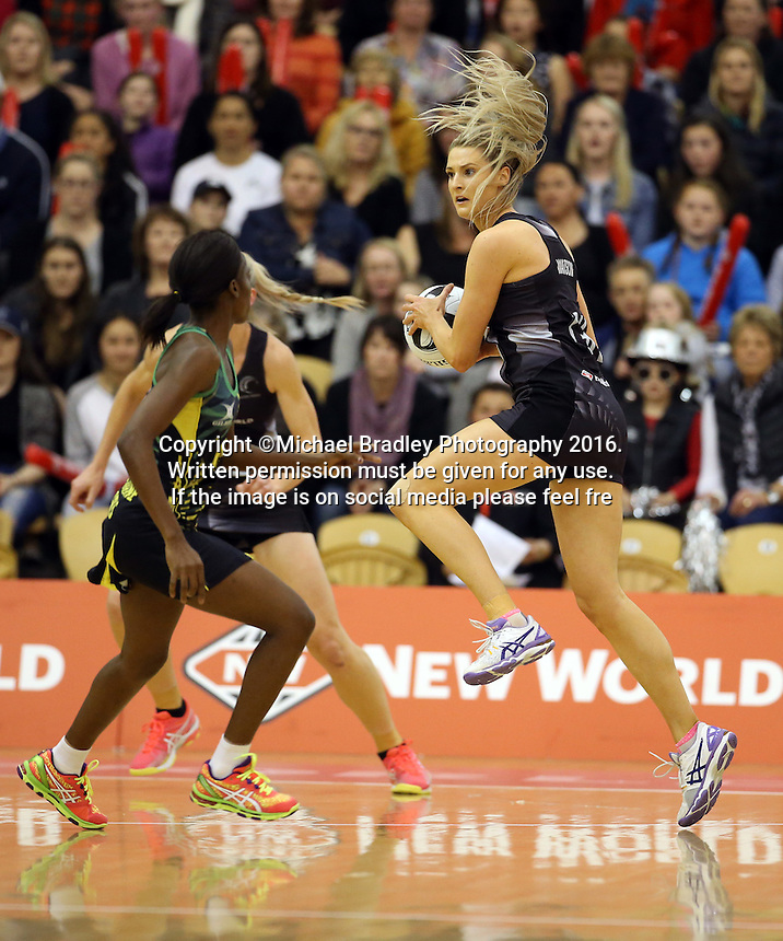 14.09.2016 Silver Ferns Jane Watson in action during the Taini Jamison netball match between the Silver Ferns and Jamaica played at Arena Manawatu in Palmerston North. Mandatory Photo Credit ©Michael Bradley.