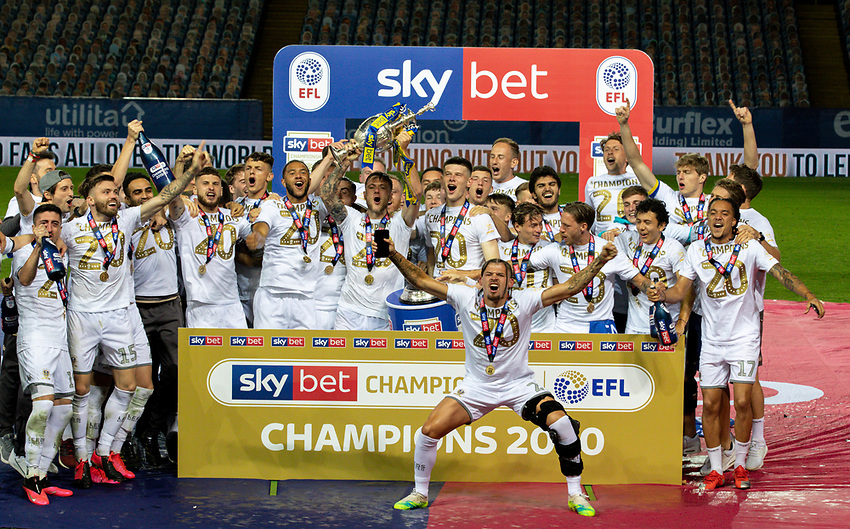 The Leeds United team celebrates becoming champions<br /> <br /> Photographer Alex Dodd/CameraSport<br /> <br /> The EFL Sky Bet Championship - Leeds United v Charlton Athletic - Wednesday July 22nd 2020 - Elland Road - Leeds <br /> <br /> World Copyright © 2020 CameraSport. All rights reserved. 43 Linden Ave. Countesthorpe. Leicester. England. LE8 5PG - Tel: +44 (0) 116 277 4147 - admin@camerasport.com - www.camerasport.com