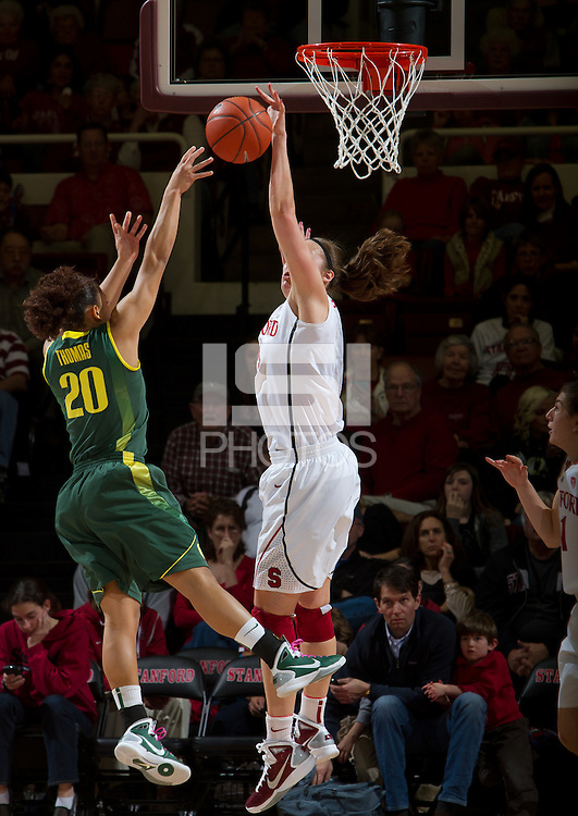 STANFORD, CA - February 26, 2011:  Jeanette Pohlen blocks a shot in Stanford's 99-60 victory over Oregon at Stanford, California on February 26, 2011.