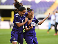 20190807 - ANDERLECHT, BELGIUM : Anderlecht's Laura Roxana Rus pictured celebrating her goal with teammate Diki Sakina Ouzraoui (left) during the female soccer game between the Belgian RSCA Ladies – Royal Sporting Club Anderlecht Dames  and the Greek FC PAOK Thessaloniki ladies , the first game for both teams in the Uefa Womens Champions League Qualifying round in group 8 , Wednesday 7 th August 2019 at the Lotto Park Stadium in Anderlecht  , Belgium  .  PHOTO SPORTPIX.BE | DAVID CATRY