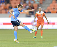 Christine Rampone (3) of Sky Blue FC clears the ball from her side of the field against the Houston Dash on Friday, April 29, 2016 at BBVA Compass Stadium in Houston Texas. The Houston Dynamo and Sky Blue FC tied 0-0.