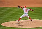1 April 2013: Washington Nationals starting pitcher Stephen Strasburg on the mound during the Opening Day Game against the Miami Marlins at Nationals Park in Washington, DC. Strasburg pitched seven shutout innings as the Nationals defeated the Marlins 2-0 to launch the 2013 season. Mandatory Credit: Ed Wolfstein Photo *** RAW (NEF) Image File Available ***