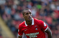 Goal scorer Jay Simpson of Leyton Orient during the Sky Bet League 2 match between Leyton Orient and Wycombe Wanderers at the Matchroom Stadium, London, England on 19 September 2015. Photo by Andy Rowland.