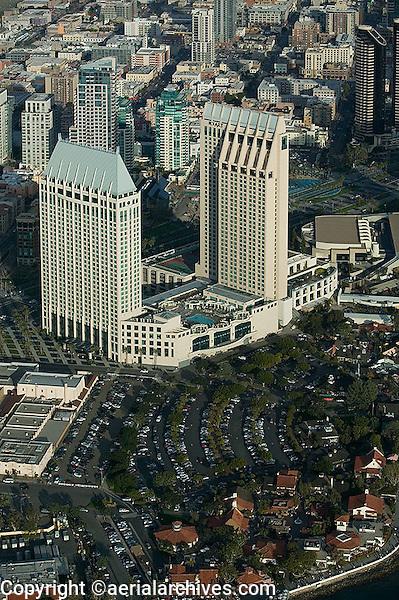 aerial view above Hotel Manchester Grand Hyatt San Diego California