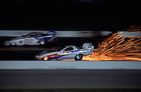 Oct. 17, 1997; Ennis, TX, USA; NHRA funny car driver driver Dale Creasy Jr explodes a clutch in a shower of sparks during qualifying for the Revell Nationals at the Texas Motorplex. Mandatory Credit: Mark J. Rebilas-