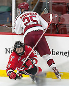 Riley Bourbonnais (RPI - 14), Wiley Sherman (Harvard - 25) - The Harvard University Crimson defeated the visiting Rensselaer Polytechnic Institute Engineers 5-2 in game 1 of their ECAC quarterfinal series on Friday, March 11, 2016, at Bright-Landry Hockey Center in Boston, Massachusetts.