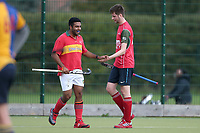 Redbridge & Ilford celebrate scoring their second goal during Upminster HC 2nd XI vs Redbridge & Ilford HC, East Region League Field Hockey at the Coopers Company and Coborn School on 5th October 2019