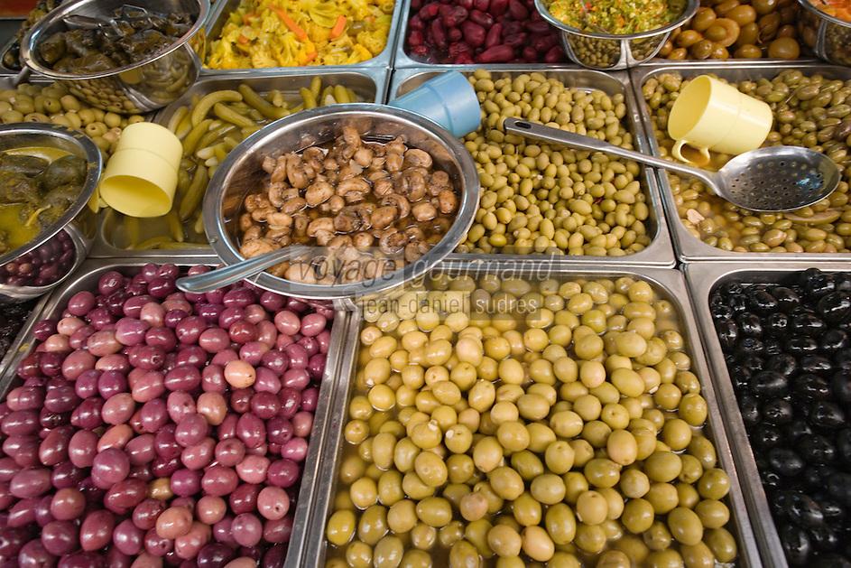 Asie/Israël/Judée/Jérusalem détail étal d'olives du marché Mahane Yehuda un des marchés les plus importants de la a ville