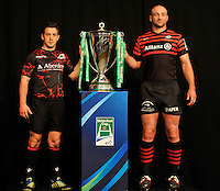 London, England. Edinburgh Rugby Captain Greig Laidlaw with Saracens Captain Steve Borthwick during the UK Heineken Cup and Amlin Challenge Cup season launch at SKY Studios on October 1, 2012 in London, England.