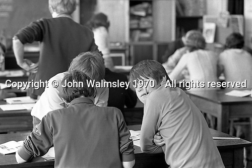 Class scene, Whitworth Comprehensive School, Whitworth, Lancashire.  1970.
