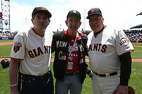 SAN FRANCISCO - JUNE 11:  San Francisco Giants Legends Randy Moffitt and John Montefusco pose with photographer and friend Michael Zagaris on San Francisco Giants Legends day before an MLB baseball game between the Cincinnati Reds and the San Francisco Giants on Satuday, June 11, 2011 at AT&T Park in San Francisco, California.  Photo by Brad Mangin