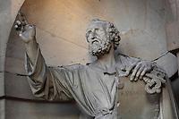 SLODTZ, Rene Michel, 1705-64, sculpture of Evangelist,  porch of Eglise Saint-Sulpice (St Sulpitius' Church), c.1646-1745, late Baroque church on the Left Bank, Paris, France. Picture by Manuel Cohen
