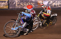 Heat 12: Kauko Nieminen (red) and Grzegorz Zengota (white) - Lakeside Hammers vs Swindon Robins, Elite League Speedway at the Arena Essex Raceway, Purfleet - 03/09/10 - MANDATORY CREDIT: Rob Newell/TGSPHOTO - Self billing applies where appropriate - 0845 094 6026 - contact@tgsphoto.co.uk - NO UNPAID USE.