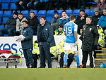 St Johnstone v Dundee&hellip;30.12.17&hellip;  McDiarmid Park&hellip;  SPFL<br />No reaction from manager Tommy Wright as Richie Foster walks off the pitch after being sent off for a tackle on Paul McGowan<br />Picture by Graeme Hart. <br />Copyright Perthshire Picture Agency<br />Tel: 01738 623350  Mobile: 07990 594431