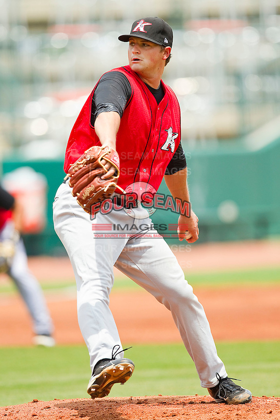 Kannapolis Intimidators starting pitcher Brandon Parrent #30 in action against the Greensboro Grasshoppers at NewBridge Bank Park on May 16, 2012 in Greensboro, North Carolina.  The Grasshoppers defeated the Intimidators 10-8 in 11 innings.  (Brian Westerholt/Four Seam Images)
