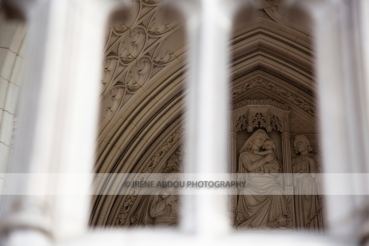 An intricate bas relief decorates the exterior of the Washington National Cathedral in Washington, DC.