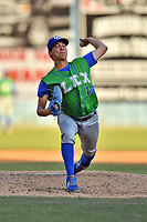 Lexington Legends starting pitcher Garrett Davila (19) delivers a pitch during a game against the  Asheville Tourists at McCormick Field on May 29, 2017 in Asheville, North Carolina. The Legends defeated the Tourists 5-2. (Tony Farlow/Four Seam Images)