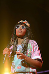 SUNRISE, FL - APRIL 02: Santigold (real name) Santi White performs as the opening act for The Red Hot Chili Peppers performs at BankAtlantic Center on April 2, 2012 in Sunrise, Florida. (Photo by Johnny Louis/jlnphotography.com)