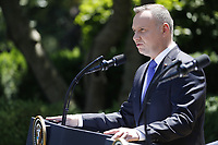 US President Donald J. Trump (not pictured) with Polish President Andrzej Duda (L) during a joint press conference in the Rose Garden of the White House in Washington, DC, USA, 12 June 2019. Earlier President Trump and President Duda signed an agreement to increase military to military cooperation including the purchase of F-35 fighter jets by Poland and an increased US troop presence in Poland. <br /> Credit: Shawn Thew / Pool via CNP/AdMedia