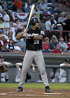 September 11, 2004:  Catcher Ronny Paulino of the Altoona Curve, Double-A affiliate of the Pittsburgh Pirates, during a game at Jerry Uht Park in Erie, PA.  Photo by:  Mike Janes/Four Seam Images