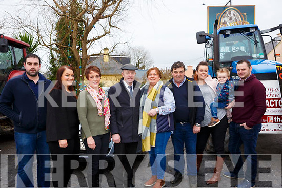 Attending the In the James Ashe Memorial Tractor Run at the Anvil Bar, Boolteens on Sunday last, l to r, Stephen O'Connor, Siobhan O'Donoghue, Elisabeth Ryan O'Connor, Michael Healy Rae (TD), Margaret, Francie, Tanya, Conor and Shane Ashe