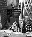 Pittsburgh PA: View of the First English Evangelical Church in downtown Pittsburgh - 1958.  Founded in 1837, the church was the first English-speaking Lutheran Church west of the Allegheny Mountains. This building on Grant Street was dedicated in 1888.  The Alcoa building is on the left.