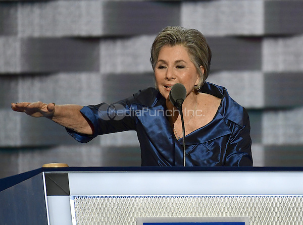 United States Senator Barbara Boxer (Democrat of California) makes remarks during the second session of the 2016 Democratic National Convention at the Wells Fargo Center in Philadelphia, Pennsylvania on Tuesday, July 26, 2016.<br /> Credit: Ron Sachs / CNP/MediaPunch<br /> (RESTRICTION: NO New York or New Jersey Newspapers or newspapers within a 75 mile radius of New York City)