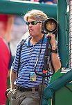 6 September 2014: Associated Press Photographer Alex Brandon stands in the dugout prior to a game between the Washington Nationals and the Philadelphia Phillies at Nationals Park in Washington, DC. The Nationals fell to the Phillies 3-1 in the second game of their 3-game series. Mandatory Credit: Ed Wolfstein Photo *** RAW (NEF) Image File Available ***