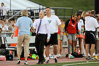 Sky Blue FC head coach Pauliina Miettinen shakes hands with Philadelphia Independence head coach Paul Riley after the game. The Philadelphia Independence defeated Sky Blue FC 2-1 during a Women's Professional Soccer (WPS) match at John A. Farrell Stadium in West Chester, PA, on June 6, 2010.