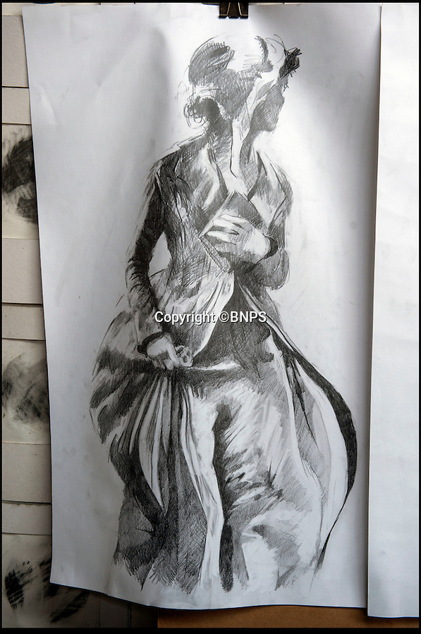 BNPS.co.uk (01202 558833)<br /> Pic: PhilYeomans/BNPS<br /> <br /> Adam's preparatory drawings capture the flowing lines of the sculpture.<br /> <br /> The first ever statue of literary heroine Jane Austen takes shape in the studio of Hampshire artist Adam Roud - nearly 200 years after her death.<br /> <br /> The half size macquette shows the English novelist clutching a book to her heart and in a flowing coat as she strides through the town square of old Basingstoke.<br /> <br /> Adam is now working on a life size version of the macquette that will be cast in bronze and unveiled in the Hampshire town this summer on the 200th anniversary of her death on 18th July 1817.<br /> <br /> Only one portrait of Austen, painted by her sister Cassandra, exist's as she achieved little fame during her lifetime.<br /> <br /> The life size bronze will create a long overdue monument to one of Britains greatest novelists.