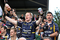 Worcester Warriors supporters celebrate a try. Aviva Premiership match, between Harlequins and Worcester Warriors on October 28, 2017 at the Twickenham Stoop in London, England. Photo by: Patrick Khachfe / JMP