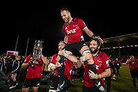 The Crusaders celebrate winning the 2019 Super Rugby final between the Crusaders and Jaguares at Orangetheory Stadium in Christchurch, New Zealand on Saturday, 6 July 2019. Photo: Joe Johnson / lintottphoto.co.nz