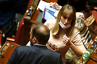 Deputy Maria Elena Boschi's new look, blond hair and fringe during the Premier speech about the European Council at the Chamber of Deputies. Rome (Italy), July 22nd 2020<br /> Foto Samantha Zucchi Insidefoto